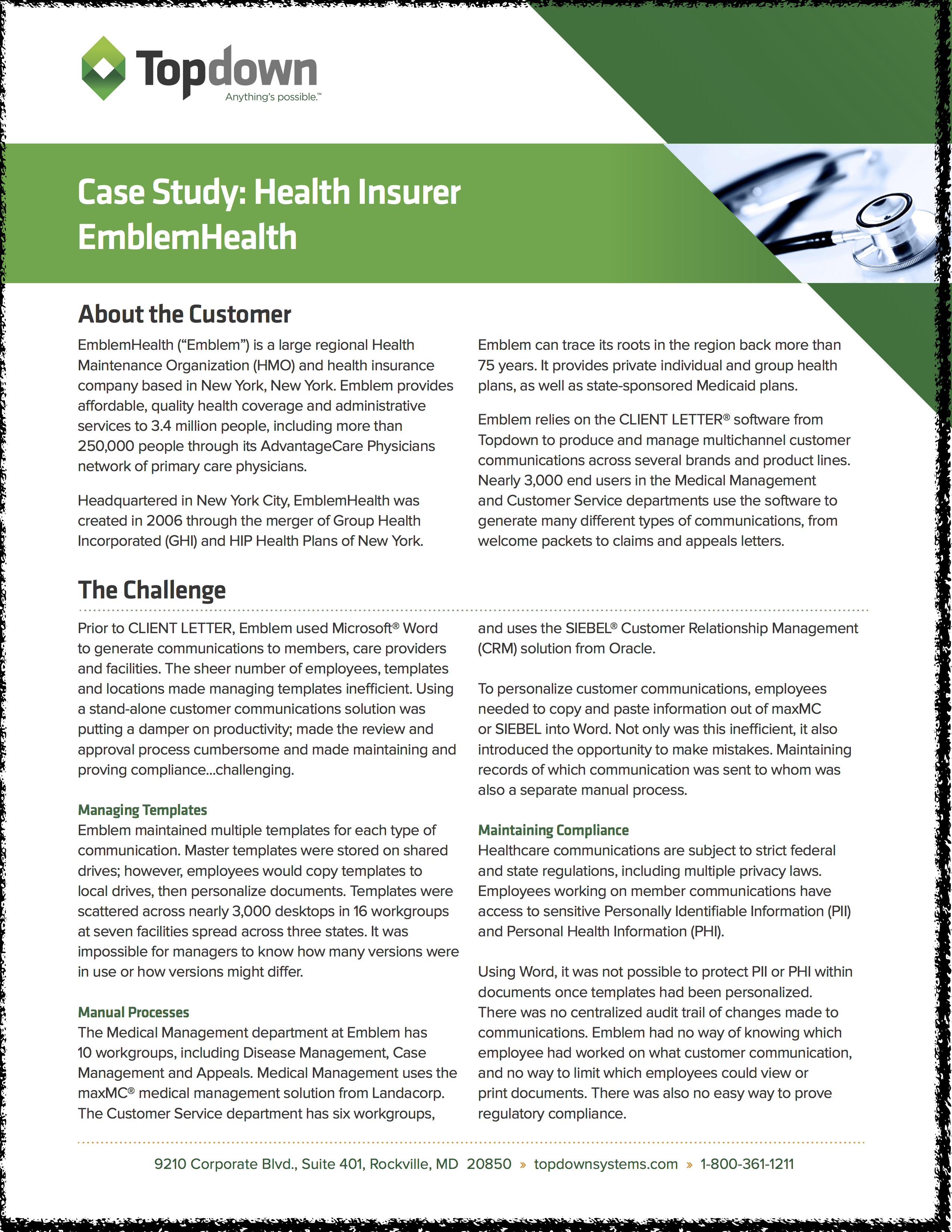 CLIENT LETTER case study on EmblemHealth